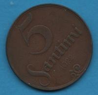 LATVIA LETTONIE 5 Santimi 1922 KM# 3 Mint Name Below Ribbon - Lettonie