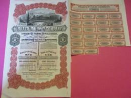 Action Privilégiée De 100 Dollars/ Brazil Railway Company /Compagnie Des Chemins De Fer Au Brésil/Maine/USA/1910  ACT189 - Railway & Tramway