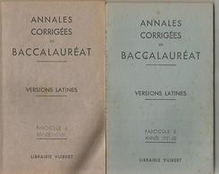 2 Livres Annales Corrigées Du Baccalauréat Versions Latines  Année 1950-51 Et Année 1951-52 - 12-18 Ans
