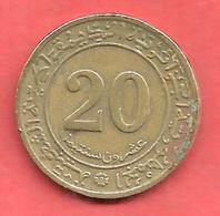 20 Centimes , ALGERIE , Bronze , 1972 , N° KM # 103 - Algerije