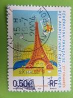 Timbre France YT 3685 - 77ème Congrès Fédération Associations Philatéliques - Tour Eiffel - 2004 - Cachet Rond - France