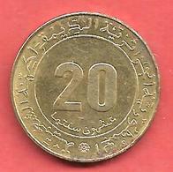20 Centimes , ALGERIE , Alu-Bronze , 1975 , N° KM # 107.2 - Algerije