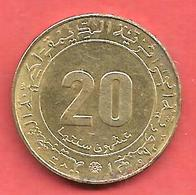 20 Centimes , ALGERIE , Alu-Bronze , 1975 , N° KM # 107.2 - Algérie