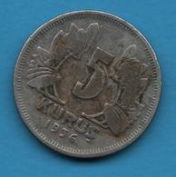 TURKEY  Empire Ottoman 5 Kurus 1936 TÜRKİYE CUMHURİYETİKM# 862 - Turquie