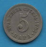 SERBIA 5 Para 1904 Petar IKM# 18 - Serbia