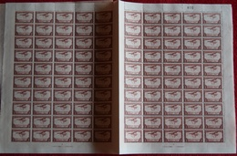 BELGIAN CONGO AIR 1934 ISSUE COB PA10 SHEET OF 100 MNH PLATE 3/4 - Feuilles Complètes