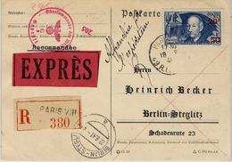 1941- POSTKARTE  RECC. EXPRES De Paris Pour BERLIN - Affr. N° 493 ADER 20 F / 50 F  SEUL - Marcophilie (Lettres)