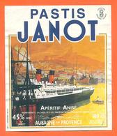 étiquette D'aperitif Anisé Pastis Janot à Aubagne En Provence - 100 Cl - Paquebot - Etiquettes