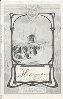Illustration Friesland (La Frise, Pays-bas) - Molen, Het Schaatsen (Moulin, Patinage) - Carte Dos Simple 1902 - Pays-Bas