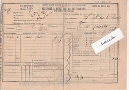 Reçu 1873 Chemin Fer / Gare Passenans / Envoi Fonte Monnier à Baudin Par Sellières 39 Jura - France