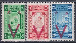 Ethiopie N° 240 / 42 XX  : Partie De Série : Pour La Croix-Rouge : Les 3 Valeurs Sans Charnière, TB - Ethiopie