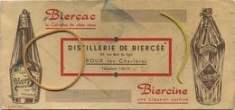 ROUX-Lez-Charleroi : Distillerie De Biercée  :  BIERCAC - BIERCINE      Format    21 X 10 Cm  (  2 Scan ) - Liqueur & Bière