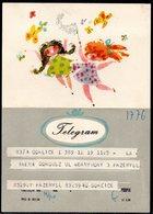 POLAND 1969 GIRLS WITH BUTTERFLIES  CATCHING BY NET CHILDREN HOBBIES USED TÉLÉGRAMME TELEGRAMM TELEGRAMA - 1944-.... Repubblica