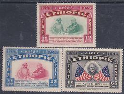 Ethiopie N° 250 / 52 : En L'honneur Du Président Roosevelt Les 3 Valeurs Sans Charnière, TB - Ethiopie