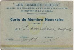 """Carte De Membre """"Les Diables Bleus"""" 7 Amicale Chasseurs à Pied Alpins & Cyclistes De Belfort / Non Datée - 1914-18"""
