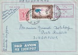 Aérogramme 4fr De Bruxelles Vers Singapour En Poste Restante + Retour - Aérogrammes