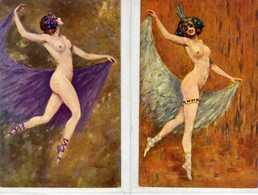 Danseuse Nue  - GAYAC  -  (lot De 2 CPA) - Altre Illustrazioni