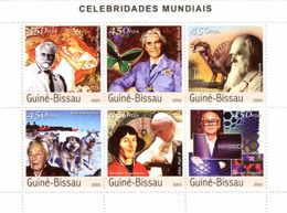 Guinea Bissau 2003  O.B.Powell , Mucha , Butterfly  , John Paul II , Darwin .dogs - Guinea-Bissau