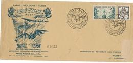 Enveloppe - PARIS - TOULOUSE - MURET - Cinquantenaire Du Premier Vol ADER - Expo Des Ailes Bisées - - Marcophilie (Lettres)