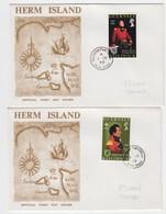 Guernsey 1969 4d & 5d Brock FDC (1 DE 1969) Herm Postmark - Guernesey