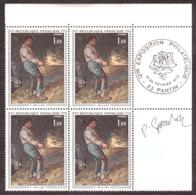 """Signature De Gandon En Marge Sur Bloc De 4 N°1672 (""""Le Vanneur"""" De Millet) - Cachet Expo Philatélique Pantin 1972 - France"""
