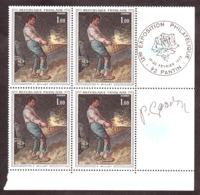 """Signature De Gandon En Marge Sur Bloc De 4 N°1672 (""""Le Vanneur"""" De Millet) - Cachet Expo Philatélique Pantin 1972 - Frankreich"""