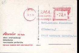 42452 Italia, Red Meter Freistempel Ema , Napoli 1978 Atero Arteriosclerosi Vasculopatie, Circuled Card - Marcophilie - EMA (Empreintes Machines)