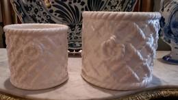 2 CACHES POT ITALIENS  AU DECOR  CORDAGE - Céramiques