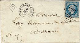 1867- Enveloppe De St Georges-d'Oléron ( Charente Maritime ) Affr. N°22 Oblit. G C 3624 + D Boite Urbaine - Postmark Collection (Covers)