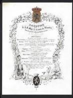 PORSELEINKAART * GENT * GAND * 1855 *  S.A.R. MGR. LE COMTE DE FLANDRE * ADEL * NOBLESSE * 25.5 X 19.5 CM - Menus