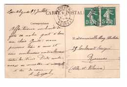 Cachet Rond Arradon 56 Morbihan 1912 Sur Cpa Ile Aux Moines Interieur De L' Eglise Paire Attahée Timbres Semeuse - Marcophilie (Lettres)