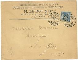 LOIRE INFERIEURE - Dépt N° 44 = NANTES  1891 = CACHET A2 - Marcophilie (Lettres)