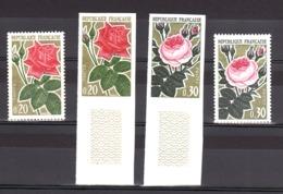 France - 1962 - N° 1356 Et 1357 - Non Dentelés - Neufs ** - Bas De Feuille - Roses - France