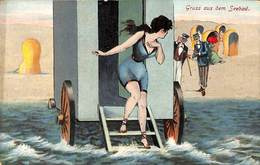 Gruss Aus Dem Seebad (baigneuse) - Humour