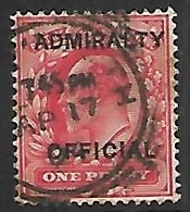 GB  1887   Sc#O37   1p Admiralty Official Used   2016 Scott Value $6.75 - Dienstpost