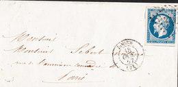 Lettre (Napoleon 20c Non Dentelé Grille 3219) De ROUEN Du 18 Oct 1867 Via PARIS - 1849-1876: Periodo Clásico