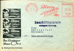 42462 Germany , Red Meter Freistempel,ema,1948 Stuttgart Bison Alleskleber, Circuled Cover - [7] República Federal
