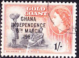"Ghana - Ghana - Marken Goldküste Mit Aufdruck ""GHANA/INDEPENDENCE/6TH MARCH,/1957"" (Mi.Nr.: 13) 1957 - Gest Used Obl. - Ghana (1957-...)"