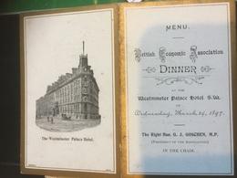 The Westminster Palace Hôtel British Economic Association 1897 - Menus