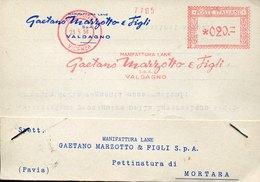 42466 Italia, Red Meter Freistempel,ema,1958  Valdagno Vicenza Gaetano Marzotto E Figli Manifattura Lane  Circuled Card - Affrancature Meccaniche Rosse (EMA)