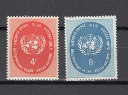NATIONS  UNIES  NEW-YORK  1958  N° 60 - 61     NEUFS**   CATALOGUE YVERT&TELLIER - New York -  VN Hauptquartier