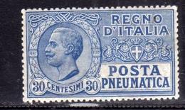 ITALIA REGNO ITALY KINGDOM 1913 1923 POSTA PNEUMATICA RE VITTORIO EMANUELE III CENT.30c MNH OTTIMA CENTRATURA - Correo Neumático
