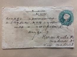 INDIA Used In Burma 1893 Cover Rangoon To Karakudi - 1882-1901 Imperio