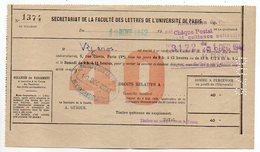 1942 --Université De PARIS--Bulletin De Versement --cachets -- Format 20cm X 11.5cm - Vieux Papiers