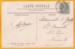 1906 - CP D'Algérie Vers Marseille - Paquebot Ligne De Philippeville (aujourd'hui Skikda) - Vue Conteur Au Café Maure - Postmark Collection (Covers)