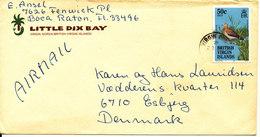 British Virgin Islands Cover Sent To Denmark 8-12-1987 Topic Stamp BIRD - British Virgin Islands