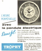 "PUB PENDULES ELECTRIQUES BLEUE  "" TROPHY ""  1957 (1) - Jewels & Clocks"