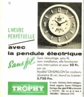 """PUB PENDULES ELECTRIQUES VERTE  """" TROPHY """"  1957 (1) - Jewels & Clocks"""