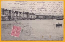 1906 - CP D' Ajacccio, Corse Vers Saint Etienne Par Ligne Maritime D'Ajaccio - 10 C Semeuse - Vue Quai De La Fraternité - Postmark Collection (Covers)