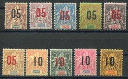 RC 11537 GRANDE COMORE N° 20 / 29 - GROUPE SURCHARGÉS SERIE COMPLETE COTE 27€ NEUF ** TB - Great Comoro Island (1897-1912)
